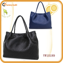 2014 New Design Handmade Waving Lamb Skin Leather Tote Bag with Detachable Pig Skin Pouch