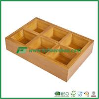 FB4-1003 healthy 100% Bamboo Tea Bags 6 Compartments Storage Bin