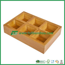 FB4-1003 healthy 100% Bamboo Tea Bags 6 Compartments Storage Bin