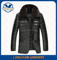 2015 new stylish warm winter men leather down jacket with fur collar