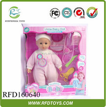 New 14 inches cartoon fashion doll with doctor set and 6 sound,toy doll