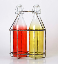 wholesale colorful glass bottle with swing top , 1 liter soft drink glass bottle hot sale