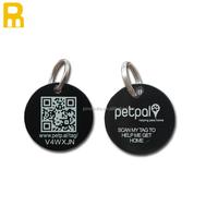 round shape black colour dog tag / qr Code dog id tag
