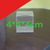 600pcs 4x4x4cm Clear PVC favor Packaging boxes transparent plastic gift display package square Box show case DHL Freeshipping