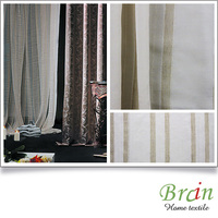 Stripe voile window curtain fabric