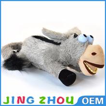 Speaking plush toy with battery, cute soft grey donkey plush toy