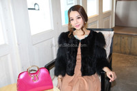 Winter Warm Womens Real Rabbit Fur Stripe Coat Jacket With Raccoon Fur Sleeve