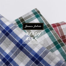 Cotton Tencel Shirting Fabric, 2-Side Blushed Flannel Check Twill Fabric