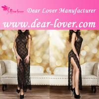 Sheer Black Cheongsam Style Transparent Nightgowns