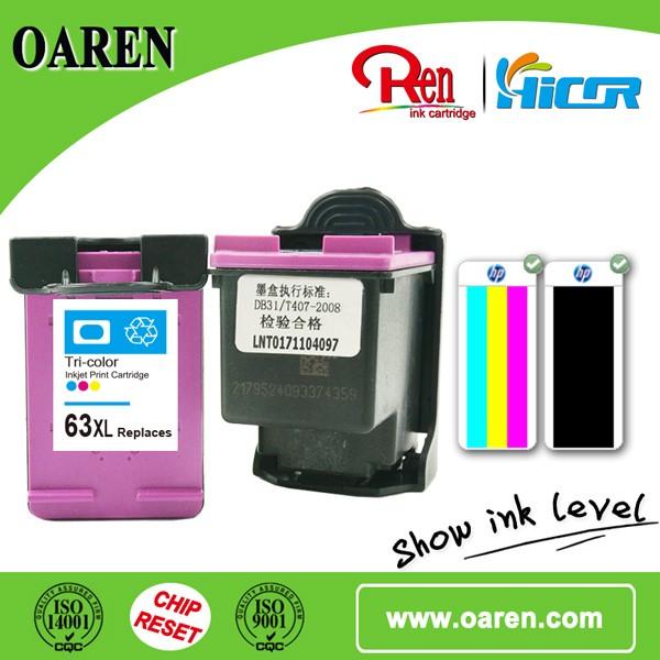 프린터 소모품 잉크 카트리지 for Hp 63 xl c 잉크 보이는 최고 판매 제품