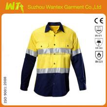 Custom two-tone reflective safety cotton polo shirt