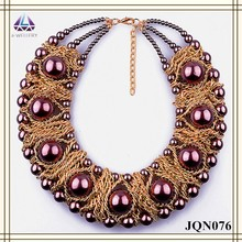 Imitation gold large chunky chain with big pearl bead design necklace for women