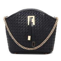 Custom order fashion chain strape sling weave leather bags for women