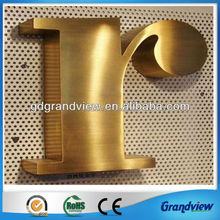 gold color wall metal advertising letters logo sign