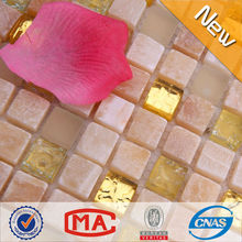 jtc-1302 Premium backsplash de la cocina de oro de vidrio agrietado mezcla de mosaico de piedra de jade del azulejo del mosaico