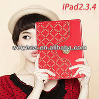 New Diamonds Smart PU Leather Stand Case Cover For iPad 2/3/4 RED +FILM+PEN