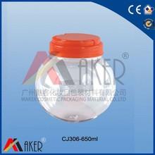 Plastic PET jar,Candy bottle, Screw cap Plastic PET bottle 650ml