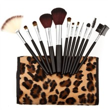 2015 Professional Makeup kits 12 PCs Brush Cosmetic Facial Make Up Set tools With Leopard Bag makeup brush tools