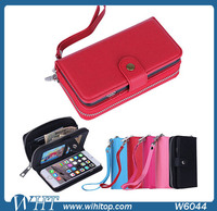 2 in 1 Magnetic Leather Case for iPhone 6 4.7 Inches, Back Cover+ Wallet Purse with Lanyard for iPhone 6 Wholesale