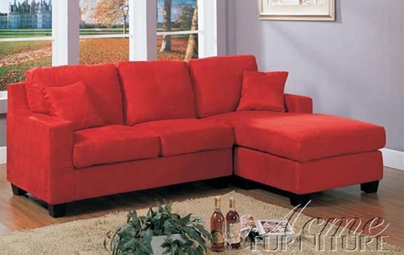 Barato peque o seccional sof de microfibra de color rojo for Sofa pequeno barato
