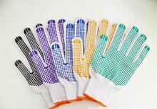cotton garden gloves elastic band hand back PVC dotted palm