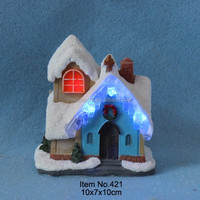 """4"""" Christmas light decoration snow house with blue ice led lights"""