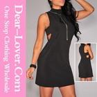 Hot venda por atacado Mock Neck Cut out Sides vestido de Jersey preto skater vestido