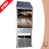 solar power 120w advertising tempered glass panel with display trash bin light box