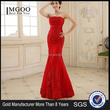 MGOO Chinese Style Red Strapless Wedding Dress Mermaid Empire Lace Elegant Sexy Gorgeous Women Prom Dress wm3246