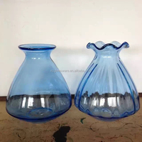 8'' hand made gathering rose glass vase bule color