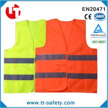 CE EN20471 Class 2 high visibility fluorescent yellow/orange reflective safety vest
