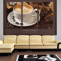3 Panel Coffee Wall Art Picture Modern Painting Canvas Home Decoration Living Room Canvas Print--Large Canvas Art Unframed