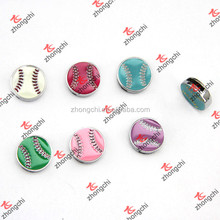 Colorful Enamel Softball Slide Charms, 8mm sports ball slider charms wholeale