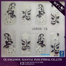 JXR09-76 Beauty white flower nail art toe stickers nail wrap printing