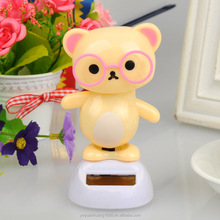 dashboard dolls flip flap solar kid toy solar swing bear toy for car decoration factory wholesale desk toy