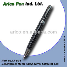 Metal lining ballpoint pen