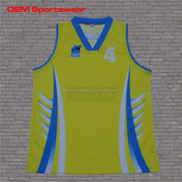 Sublimation printing yellow color basketball jersey