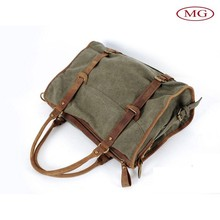 custom men's tote satchel rucksack bag with water washed canvas& crazy horse genuine leather