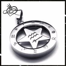 Horoscope Zodiac acier inoxydable unisexe Spinner Aquarius Necklace pendentif