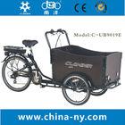 """2014 venda quente três rodas 20""""/24"""" electric bicicleta de carga/bakfiet/cargobike ub9019e modelo"""