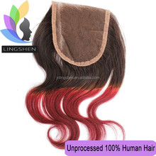 L&S Human Hair Extensions Free Parting Ombre Silk Top Lace Closure