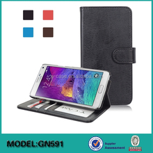 Factory competitive price wallet stand leather case for Samsung Note 4 cell phone case