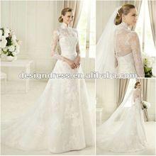 New arrival elegant high neck long sleeve lace wedding dresses in dubai