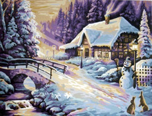 SNOW SCENERY natural scenery oil painting with EN-71,ASTM,SGS