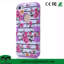 flower design 3 in 1 ULAK hybrid high impact pc silicone cute colorful bumper case for iphone 5/5s