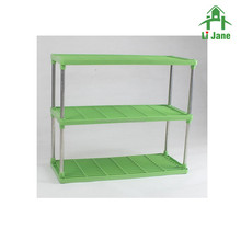 Two layers plastic and stainless steel folding storage rack