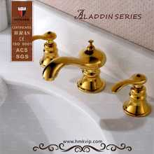 Royal design style brass dual gold handle basin faucet