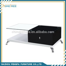 High Gloss Bases Tempered Glass Coffee Table