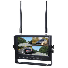 Wireless 7inch 4 Cameras Input Split Quad Screen Display Color Rear View Monitor for Bus,Truck,Tractor Reversing System