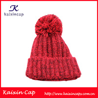Custom pom pom knitted teenagers adult knitted beanie knitted cap